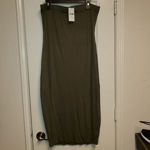 Fashion Nova Olive Green strapless midi dress